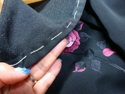 縫い代をしつける 裄出しチャレンジ